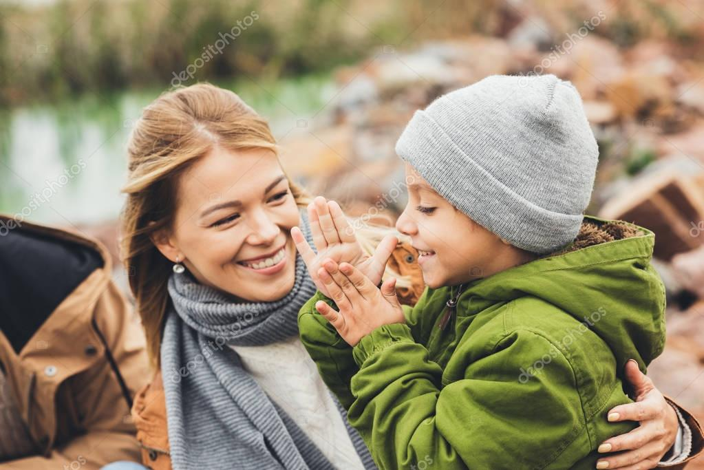 mother and son spending time together