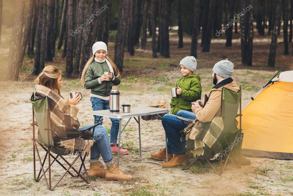 family having camping trip