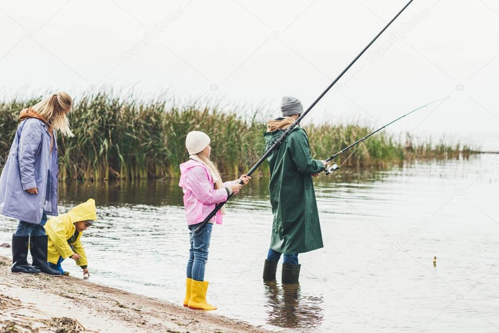 family fishing together