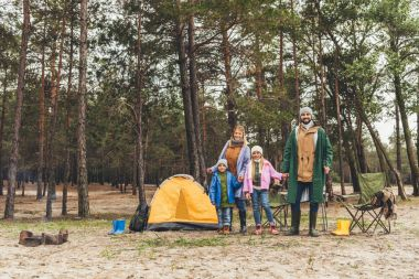 family camping in forest
