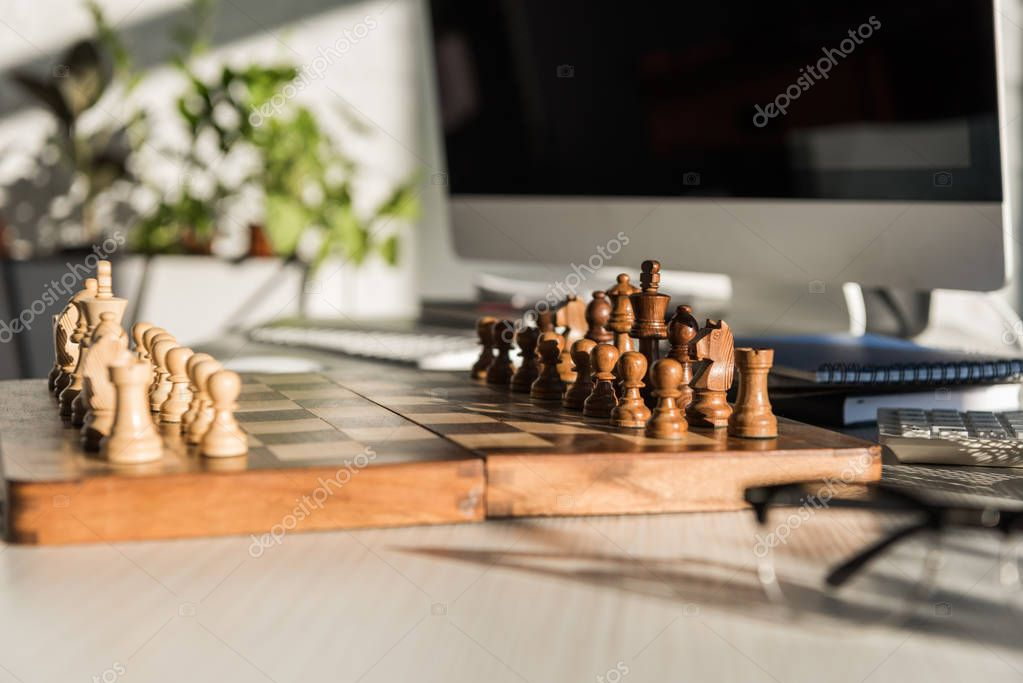 close-up shot of chess board at office work desk