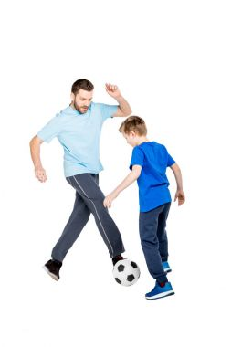 Young father and son playing soccer isolated on white stock vector