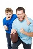 Fényképek Apa és fia, rögbi labda