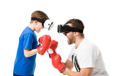 father and son in virtual reality headsets
