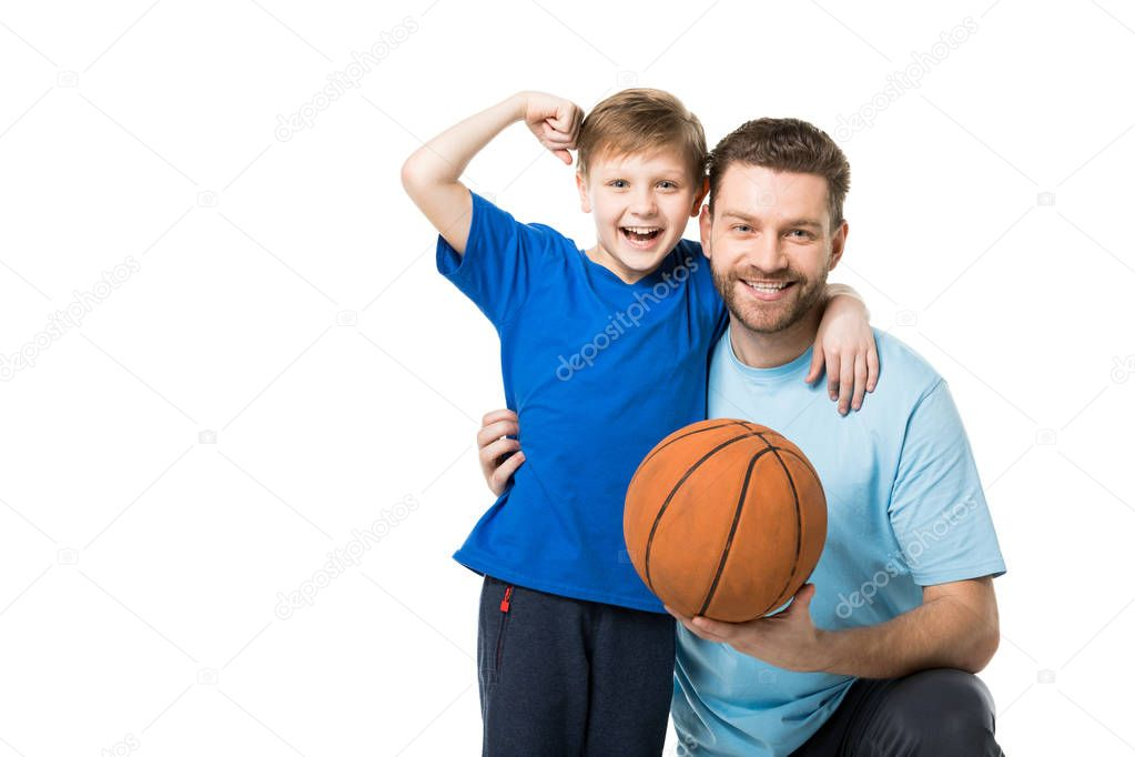 Father and son ready to play basketball