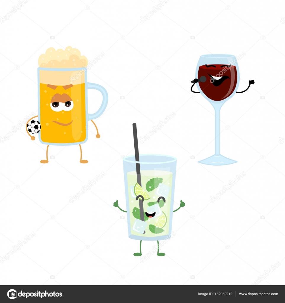 Reihe von lustigen Figuren von hochprozentigen Getränken ...