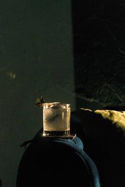 Bardakta taze bir kokteyl, içki konsepti.