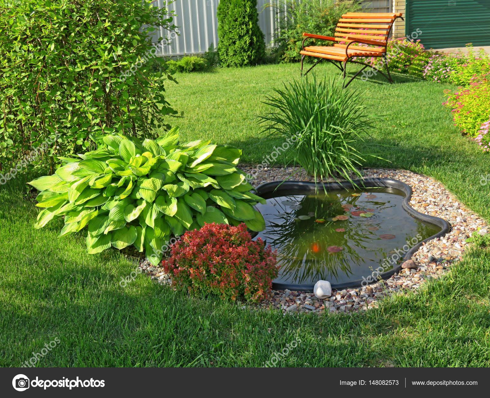 Kleine vijver in de tuin met een gazon en bank stockfoto for Kleine vijver tuin