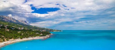 Panoramic image of the Black Sea coast in the Crimea