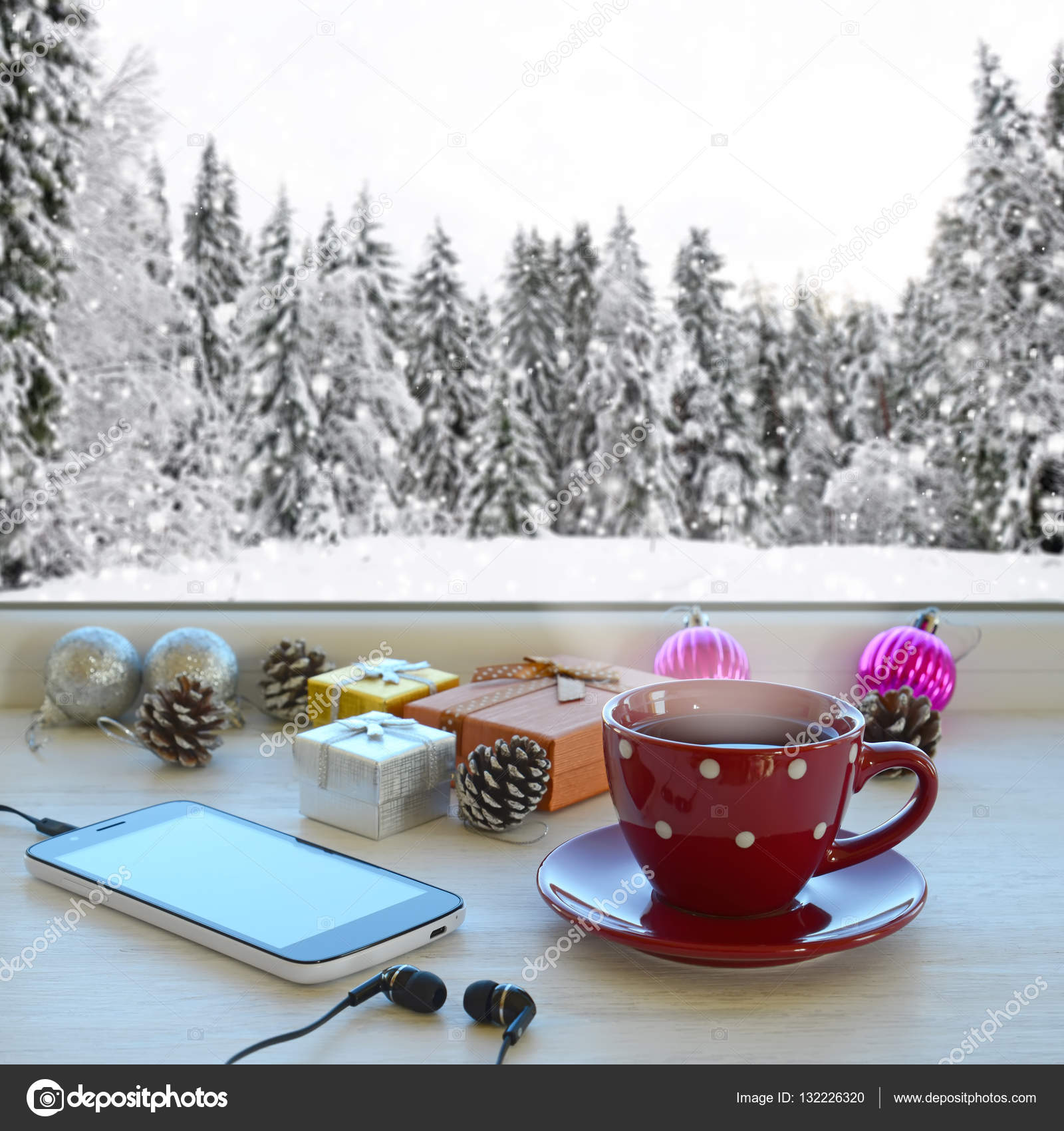Coffee Christmas Tree Ornaments.Cup Of Coffee Smartphone Headphones Gifts And Christmas