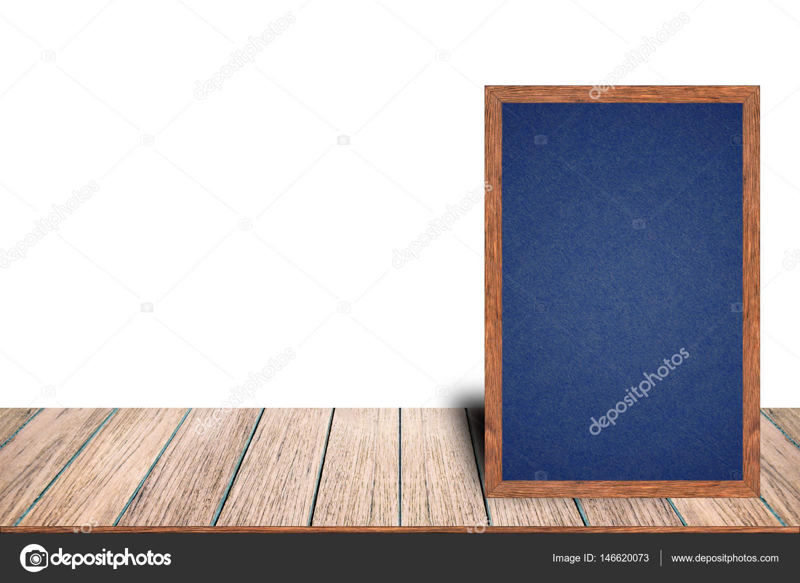 Pizarra marco madera pizarra muestra en menú mesa de madera — Fotos ...
