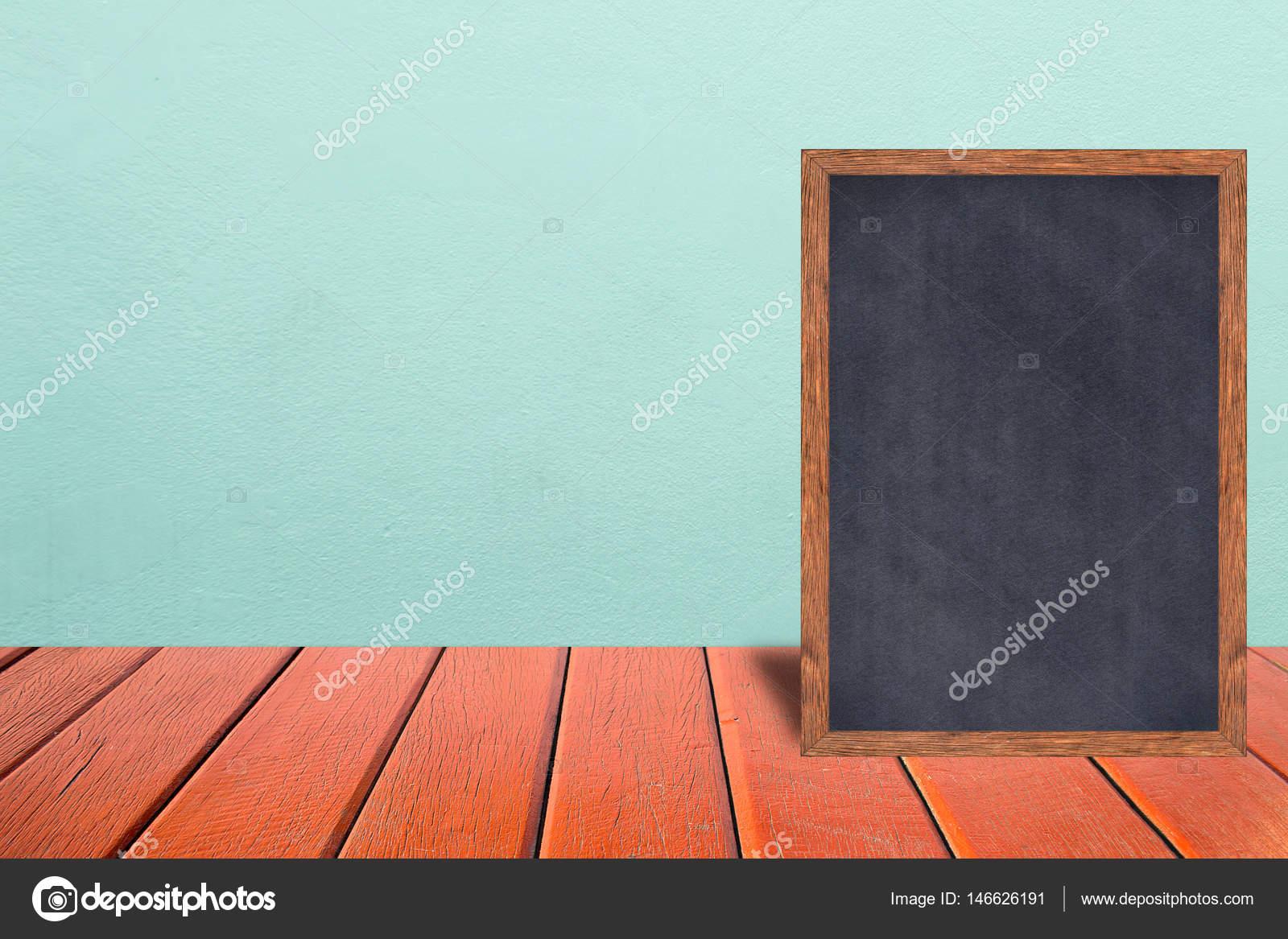 Holzrahmen Tafel, Tafel-Zeichen-Menü auf Holztisch und Vintage ...