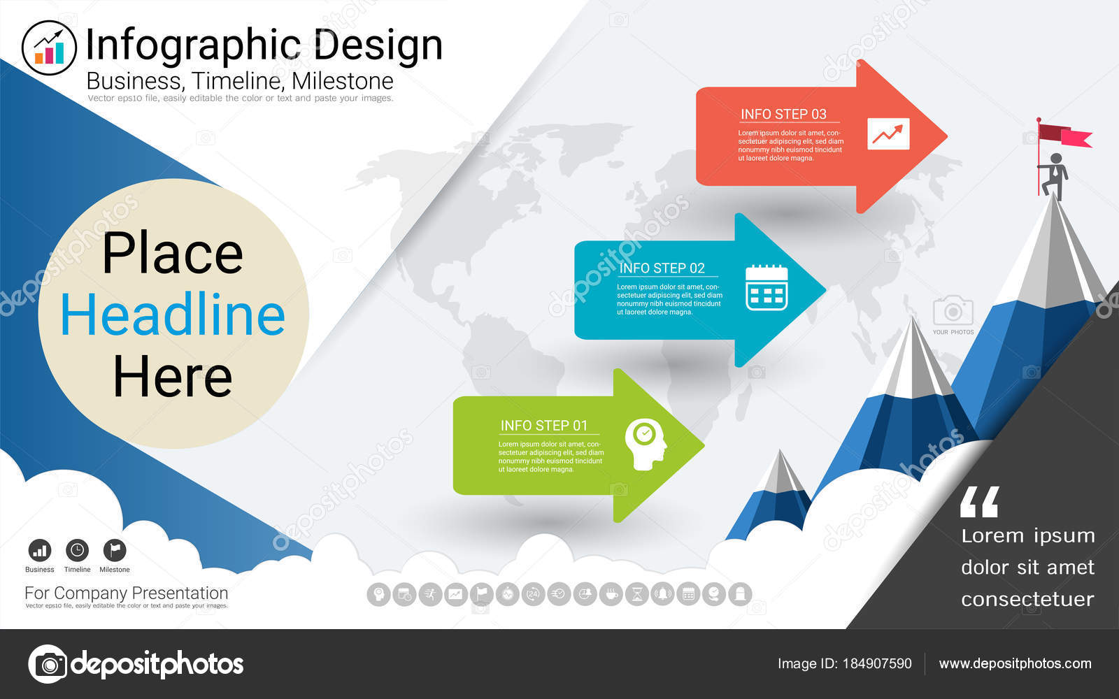 business infographics template milestone timeline road map process flowchart options stock vector