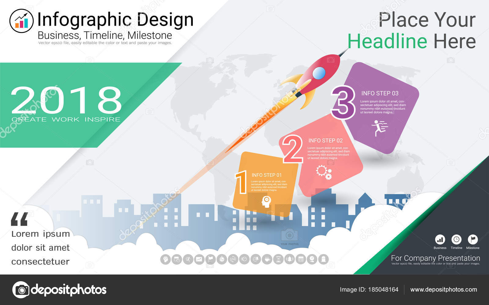 Business Infographics Template Milestone Timeline Road Map Process Flow Diagram Infographic For Powerpoint Flowchart Options Stock Vector