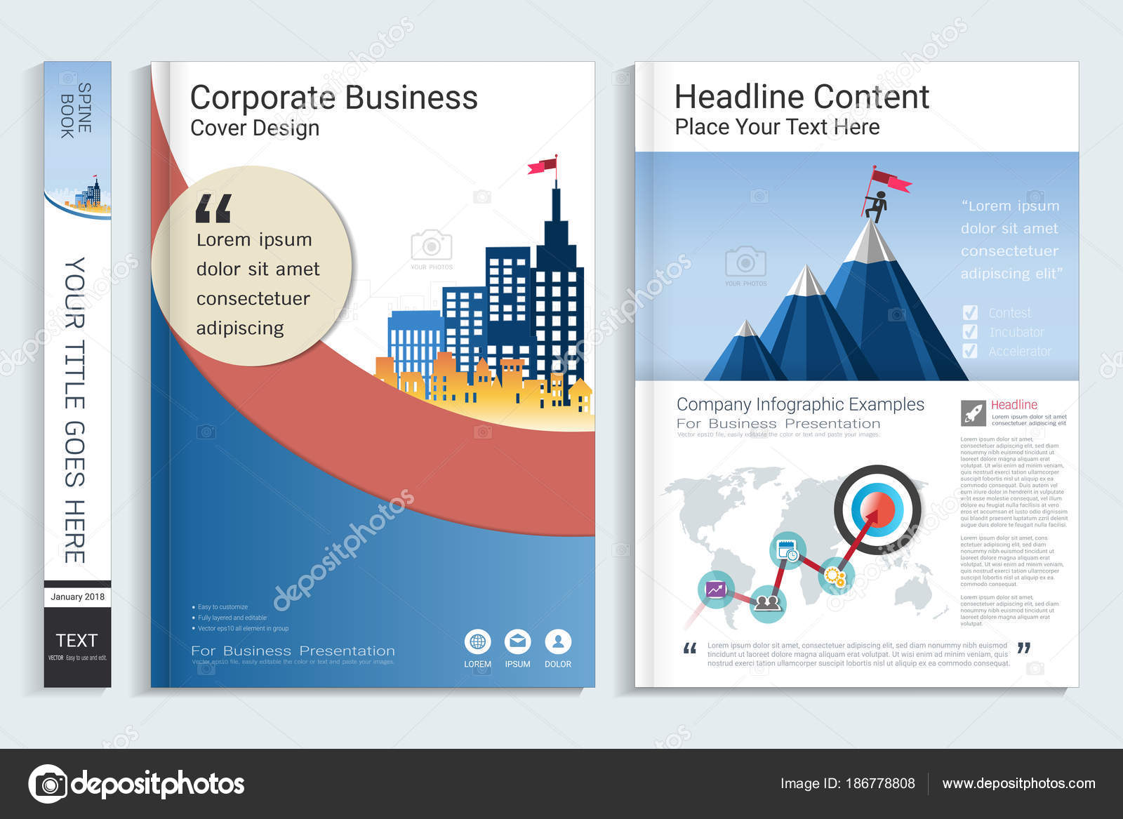 Cover Book Design Template Presentation Infographics Elements Use