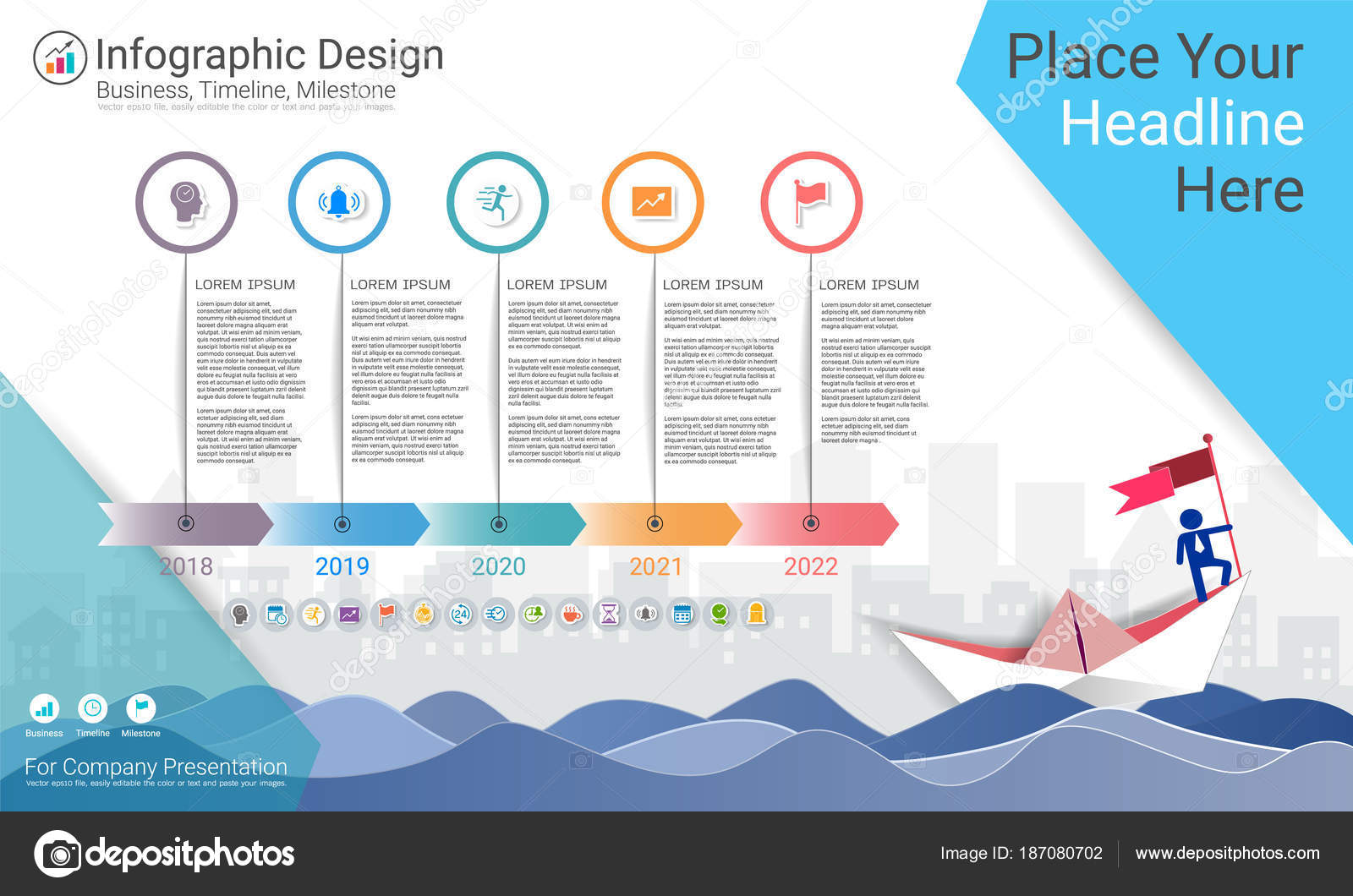 Milestone Timeline Infographic Design Road Map Strategic Plan Define Company Stock Vector