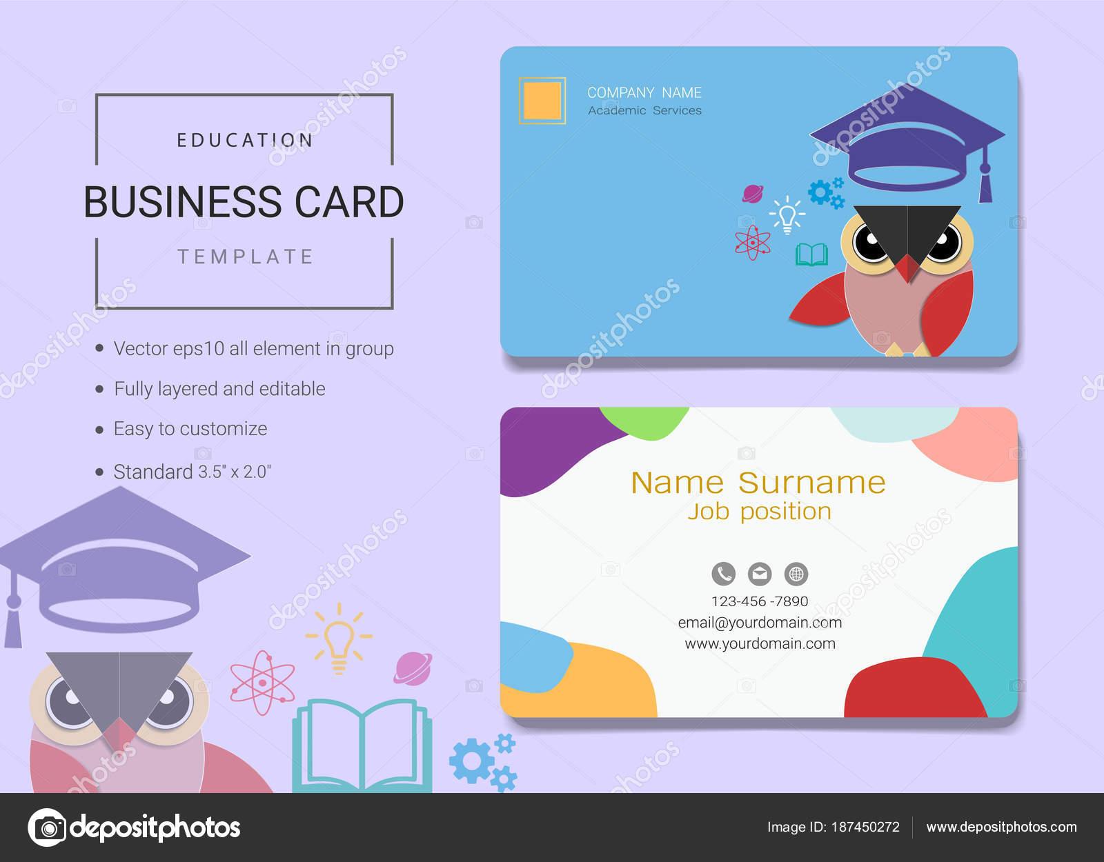 Cartão Visita Educação Modelo Cartão Nome Estilo Simples