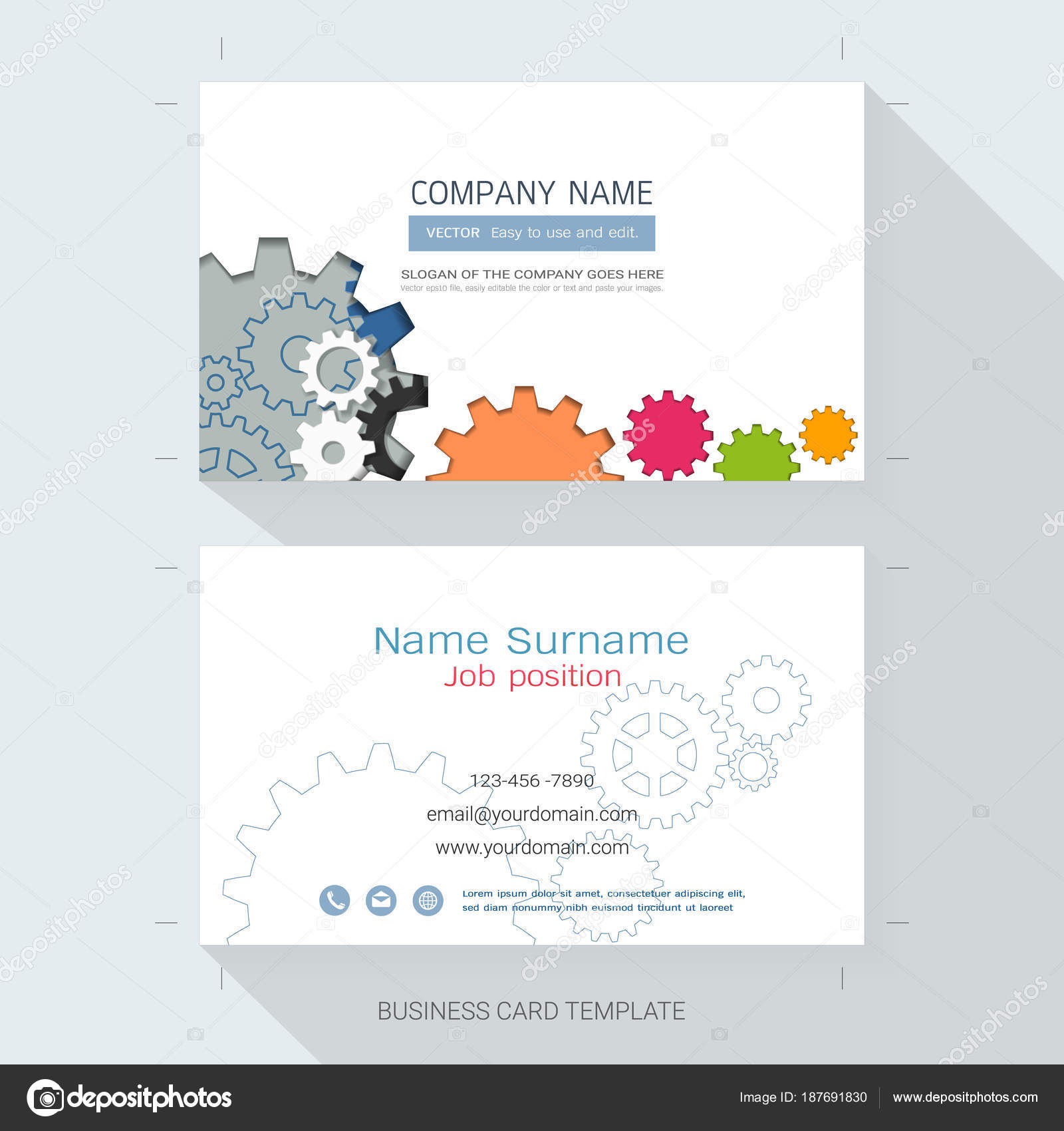Abstract Name Card Business Card Design Template Style Simple Also ...