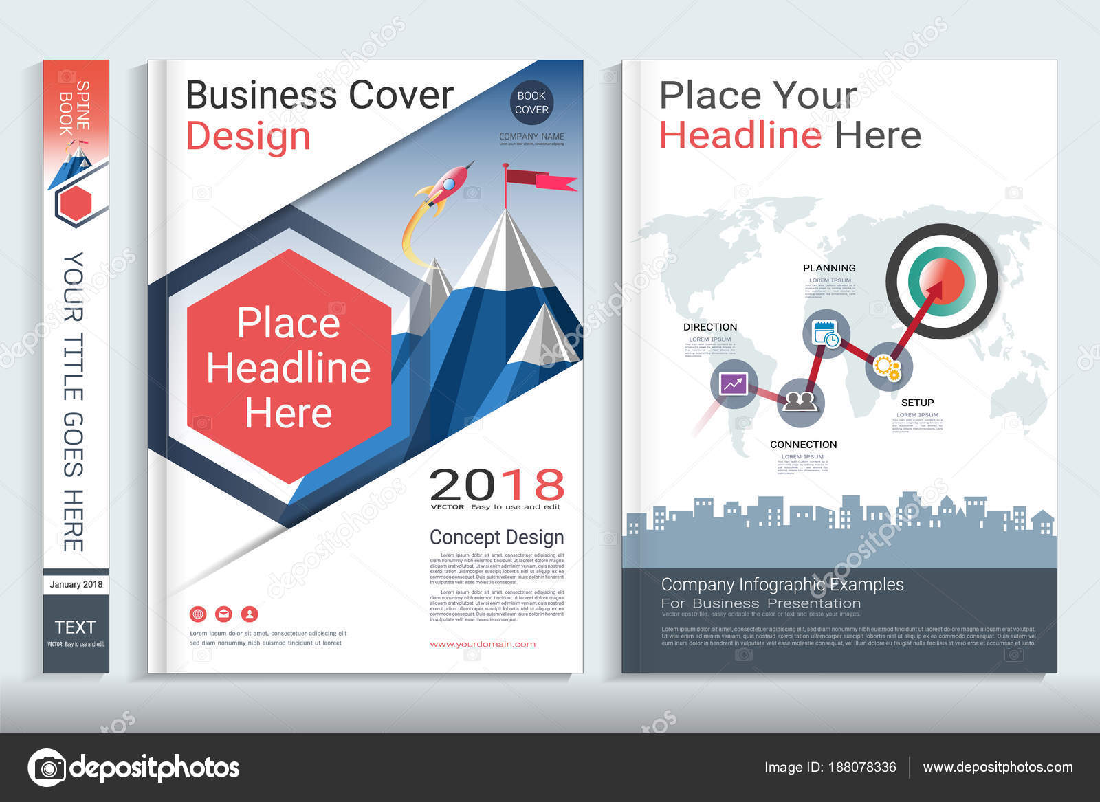 corporate cover book template infographic element covers designed