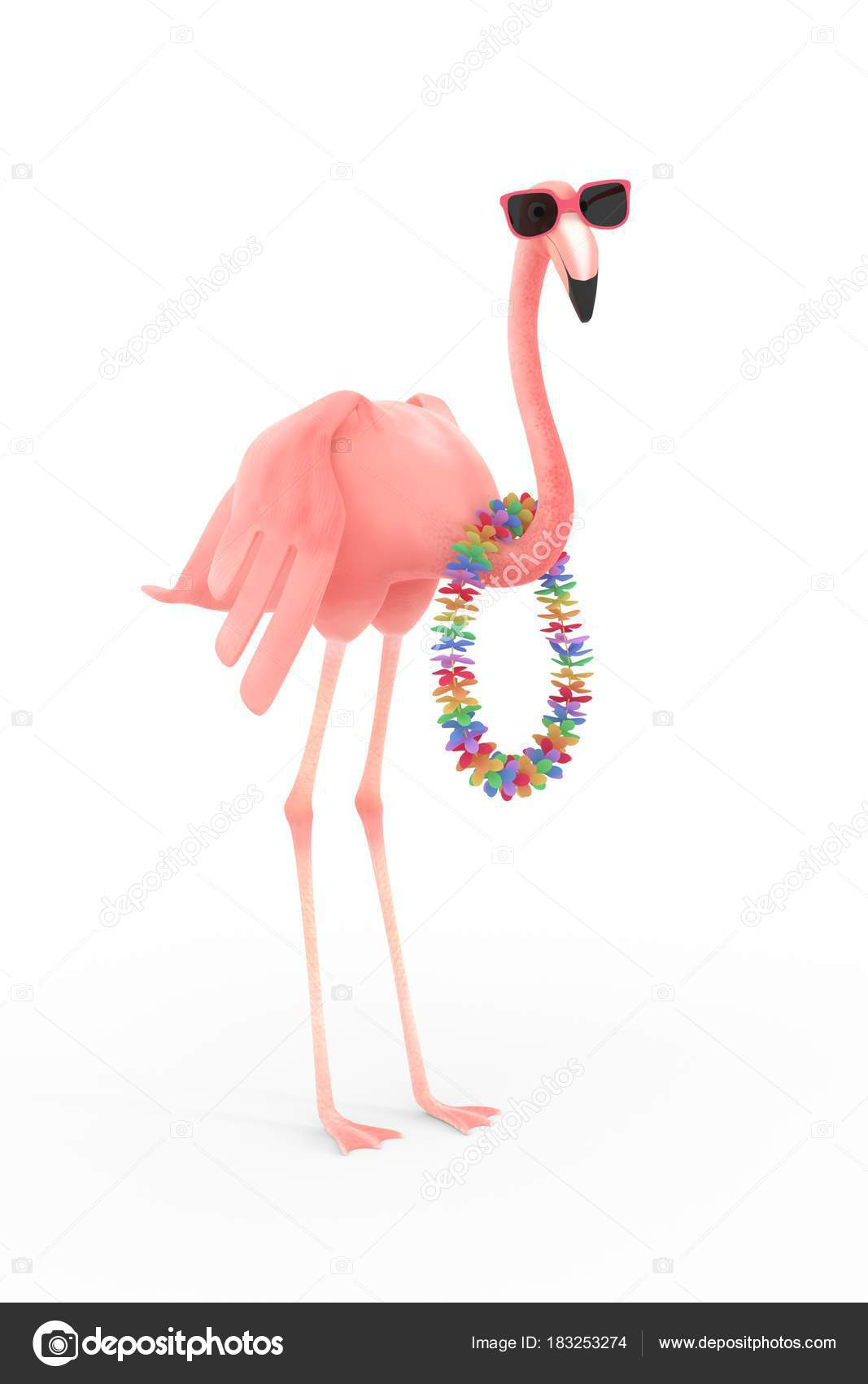 nouveaux produits pour vente en magasin modélisation durable Flamant Rose Avec Des Lunettes Soleil Guirlande Fleurs ...