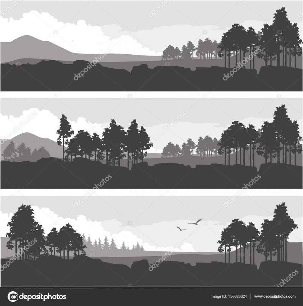 horizontal mountain forest banner stock vector marrishuannna