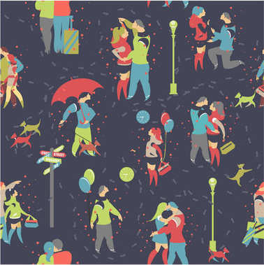 seamless pattern couple in love