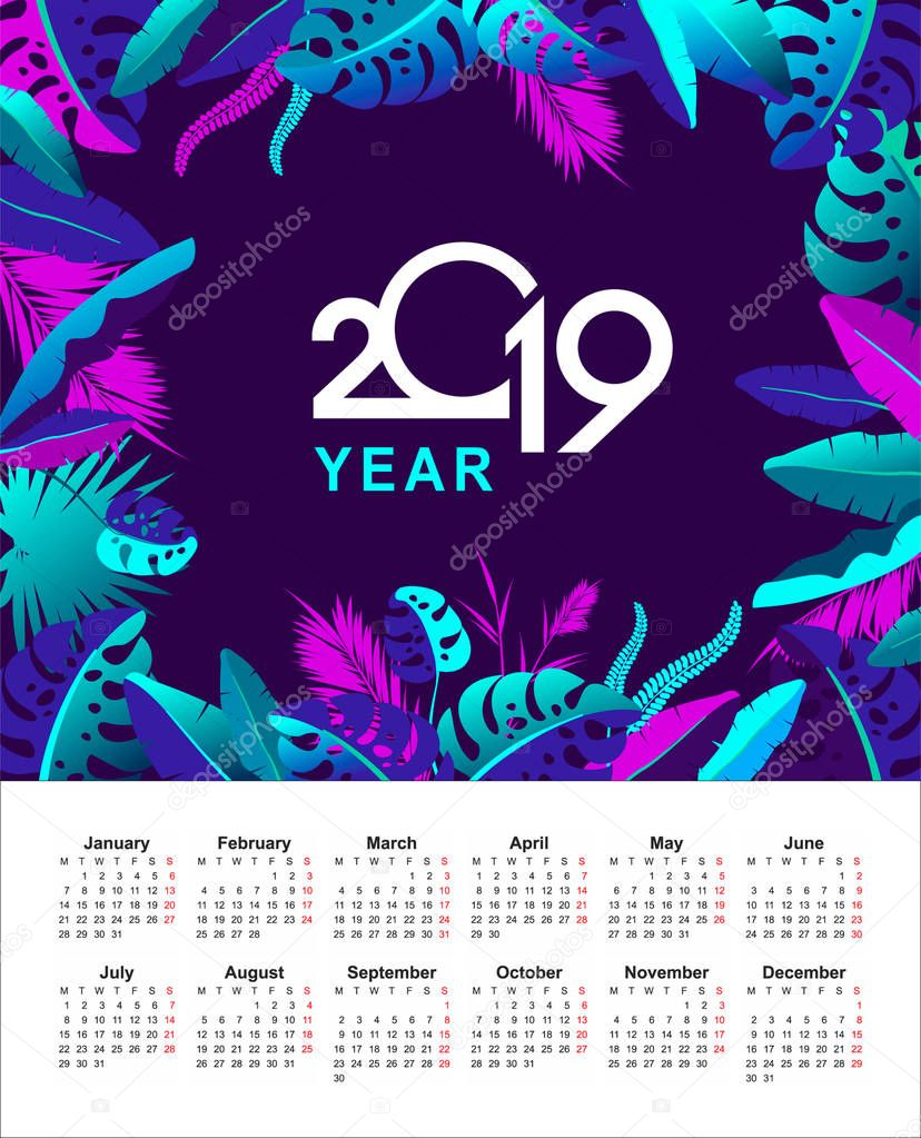 tropical calendar 2019 year