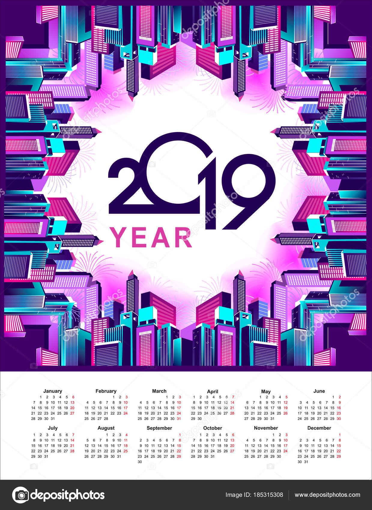 2019 year calendar city stock vector