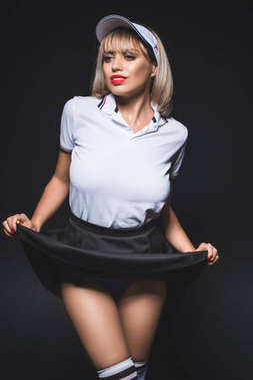 stylish woman in tennis uniform