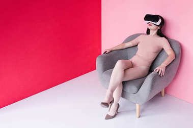 beautiful girl in vr headset