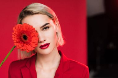 girl with red gerbera