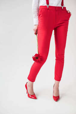 stylish girl in red pants