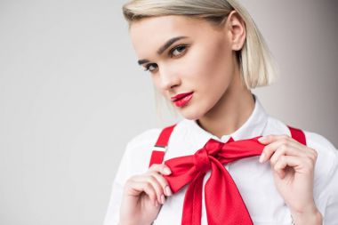 stylish girl with red bow