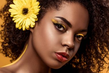 Close-up portrait of young sensual african american woman with artistic make-up and gerbera in hair isolated on orange background stock vector