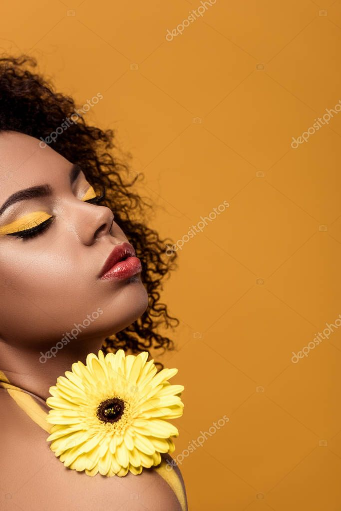 Young bright african american woman with artistic make-up holds yellow gerbera flower isolated on orange background stock vector