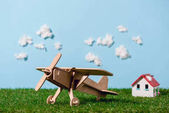 close-up view of wooden toy plane on green grass and blue sky with clouds