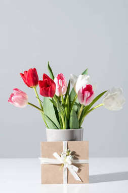 close-up view of beautiful blooming tulip flowers in vase and envelope on grey
