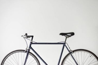 one bicycle with saddle isolated on white