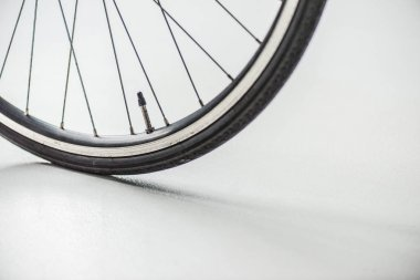 bicycle wheel with rim, tire and spokes with valve on white