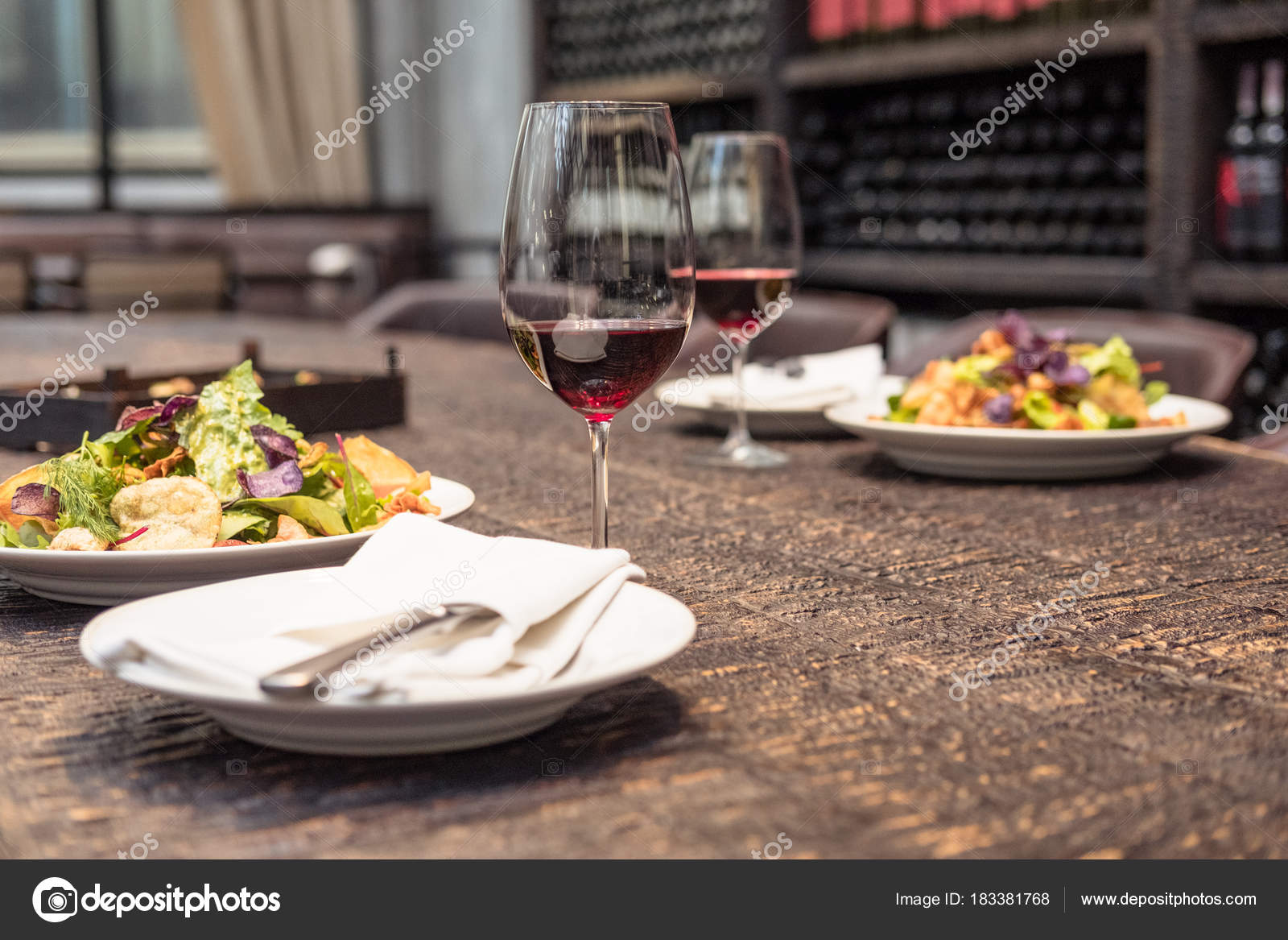 4aa15a5c12e Delicious Salad Wine Rustic Wooden Table Romantic Dinner Luxury Restaurant  — Stock Photo