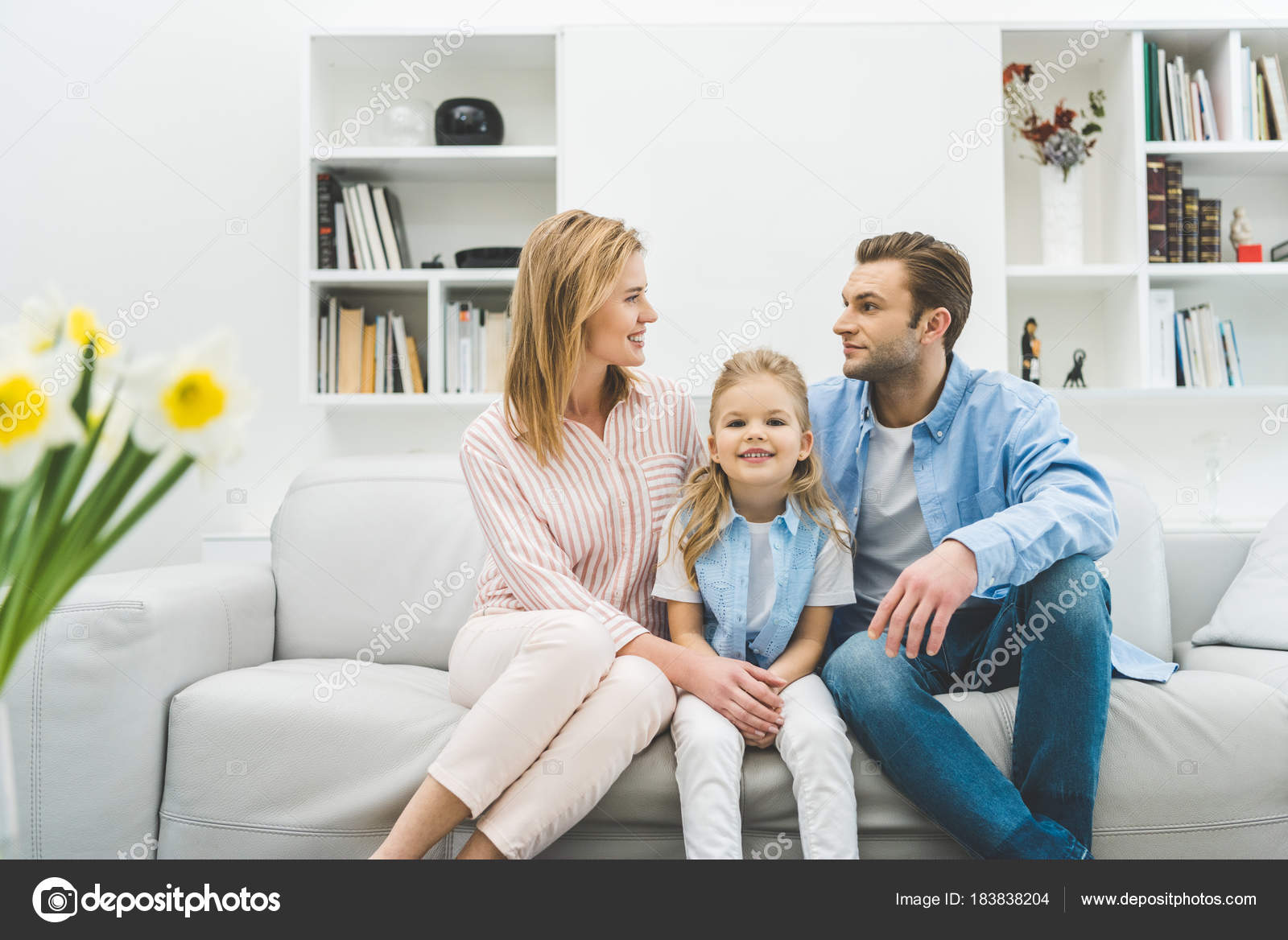 Happy Family Resting Sofa Together Living Room — Stock Photo ...