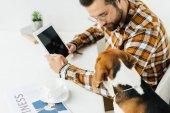 pohledný podnikatel něco ukazuje na tabletu pes