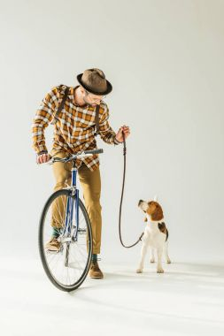 Handsome bicycler looking at dog with leash on white stock vector