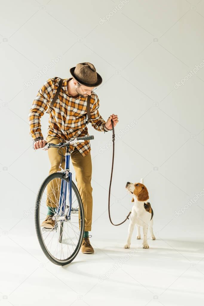 handsome bicycler looking at dog with leash on white