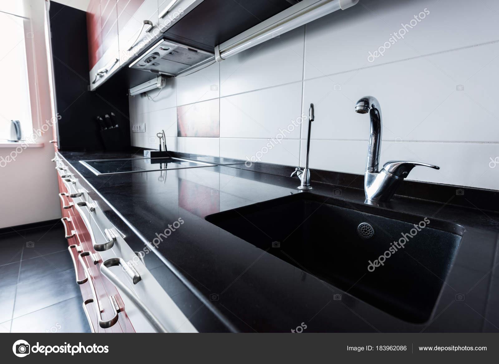 Close View Sink Faucets Kitchen — Stock Photo © Y-Boychenko #183962086