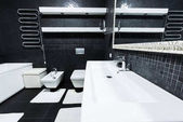 Fotografie view of modern bathroom in white and black colors