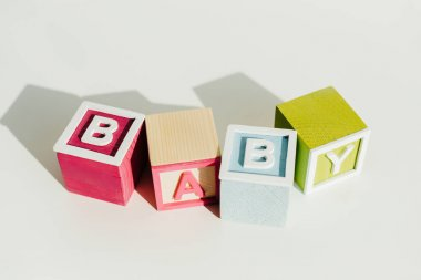 Word baby on letter wooden blocks
