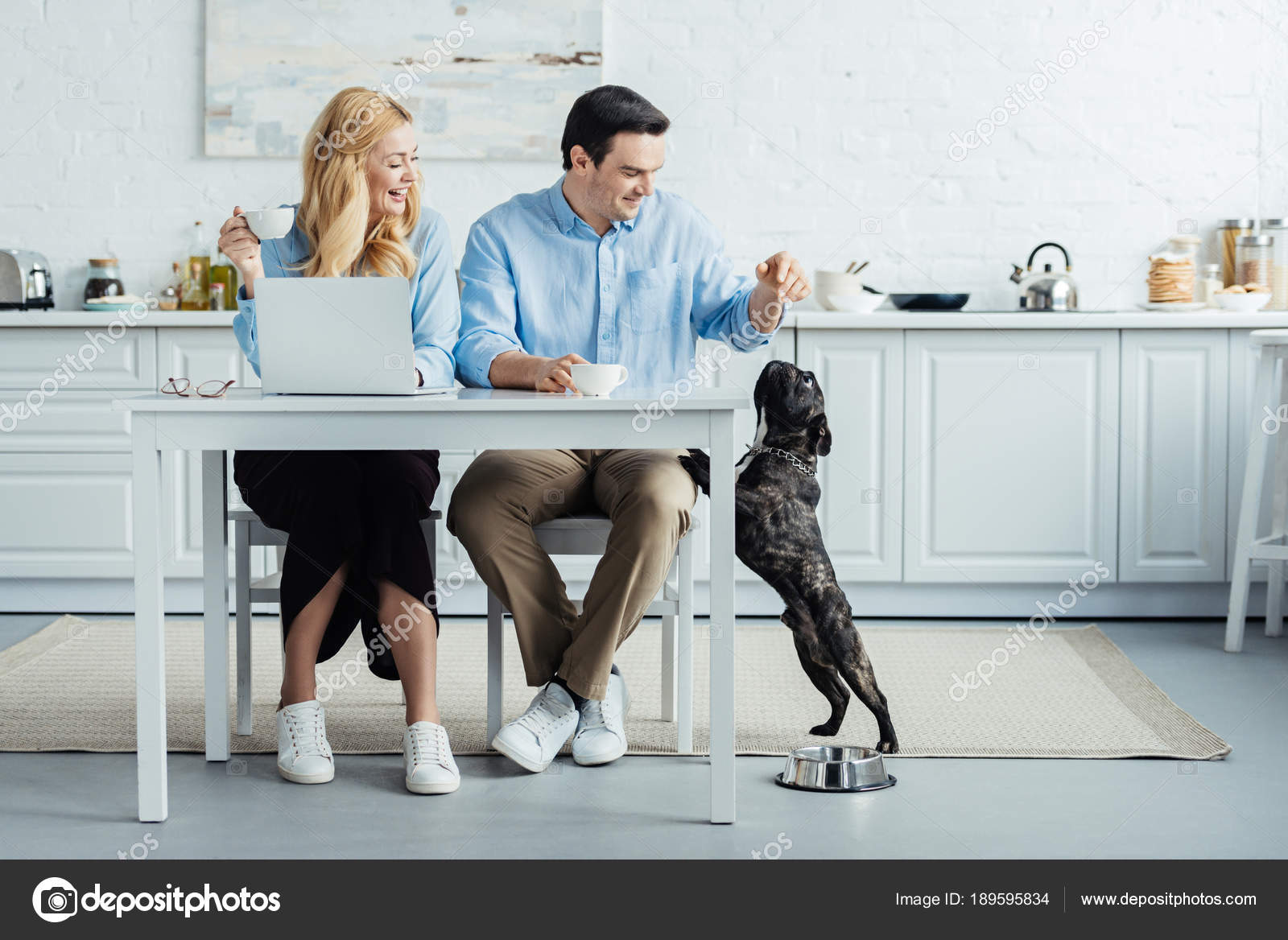 Man Woman Drinking Coffee Playing Dog Kitchen Table Laptop Stock Photo