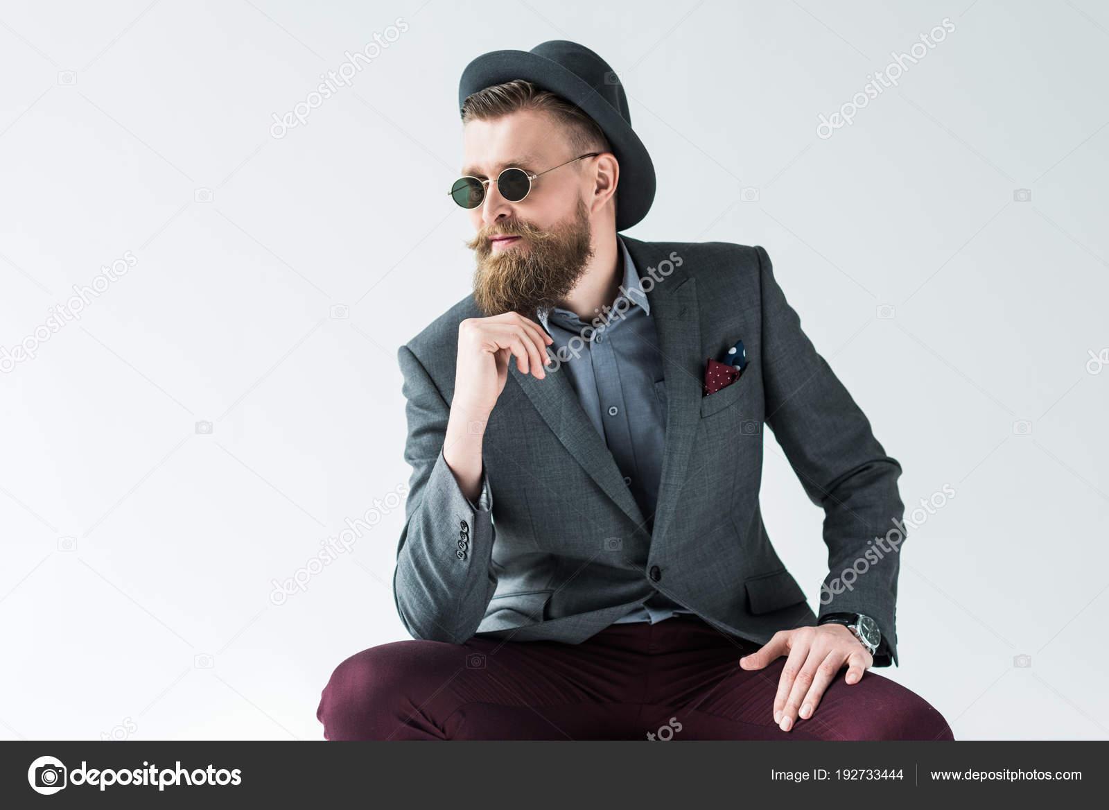 Gut Aussehender Mann Vintage Stil Kleidung Mit Hut Und Sonnenbrille