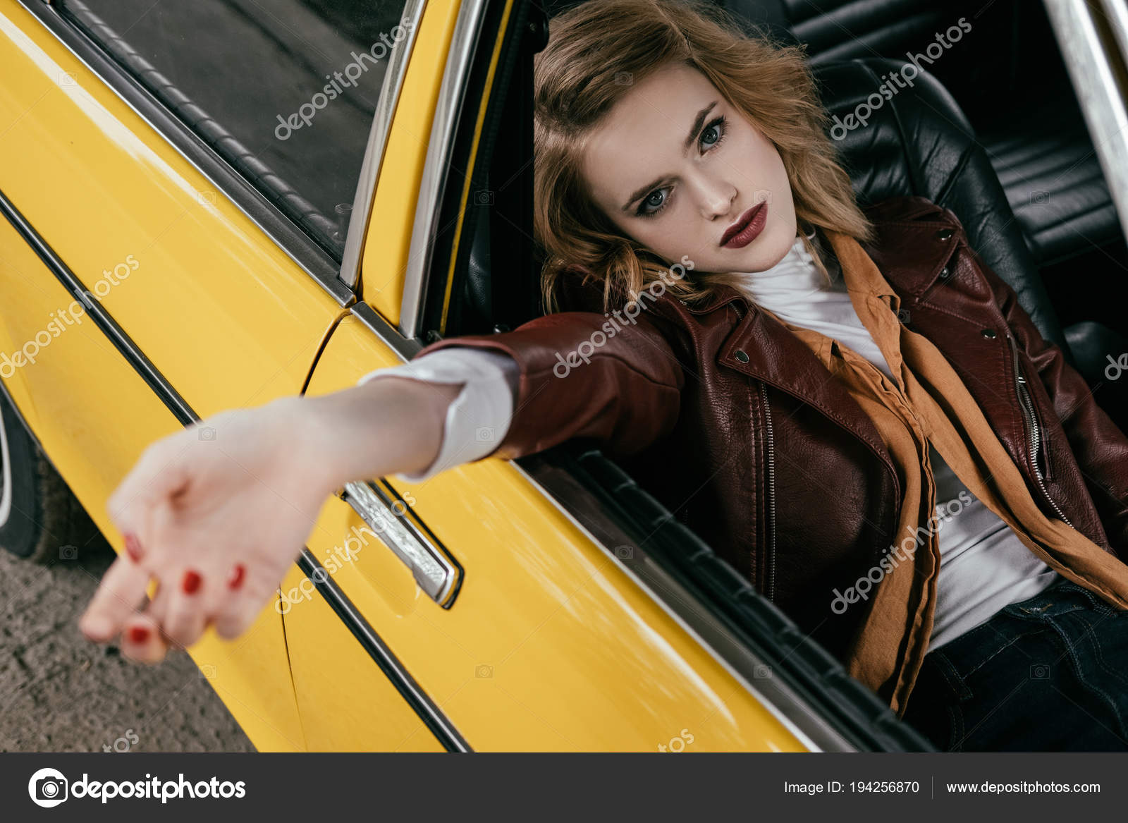 High Angle View Beautiful Stylish Girl Leather Jacket